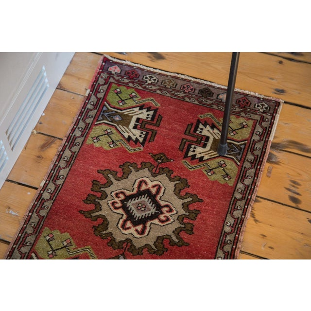 "Vintage Oushak Red Rug Mat - 1'7"" X 2'8"" - Image 3 of 7"