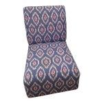 Ikat Design Fabric Upholstered Slipper Chair