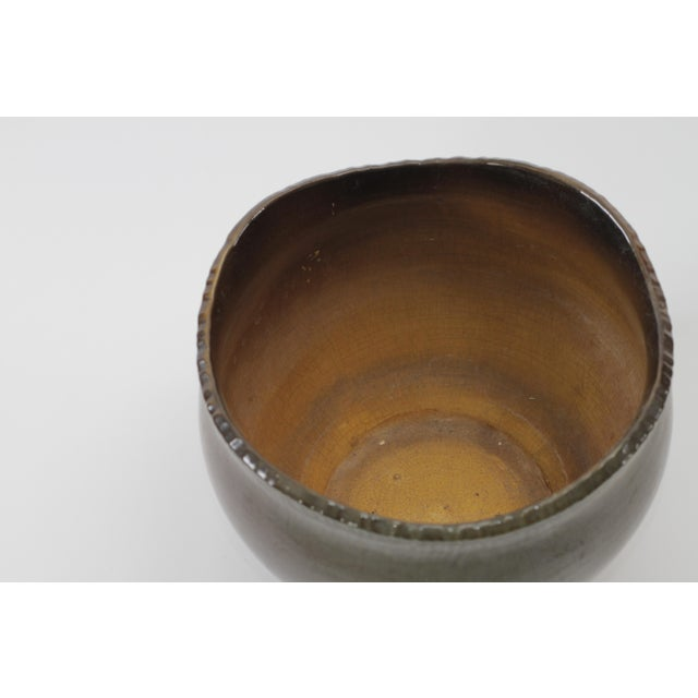 Vintage Brown Ceramic Footed Planter Cachepot Jardiniere With Leaves and Flowers - Image 4 of 11