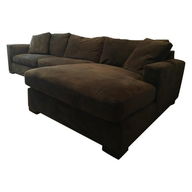 Brown room board metro sectional sofa and chaise chairish for Metropolitan sectional sofa chaise