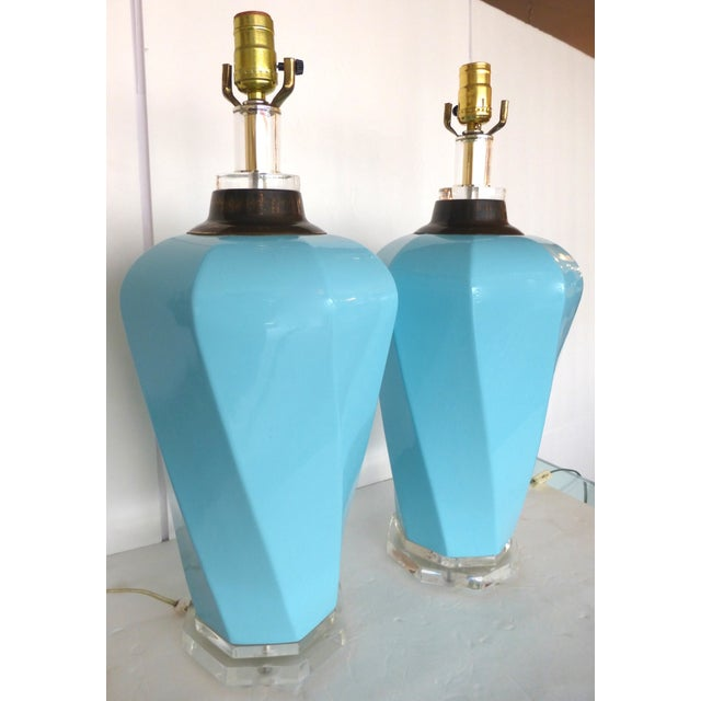 Bauer Lucite, Ceramic & Brass Table Lamps - Pair - Image 7 of 7