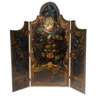 Floral Painted Canvas 3 Panel Dressing Screen