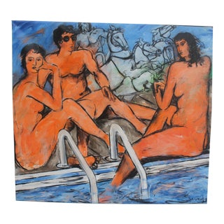 1985 Still Life In The Pool Figural Nude Abstract Oil Painting By Savage