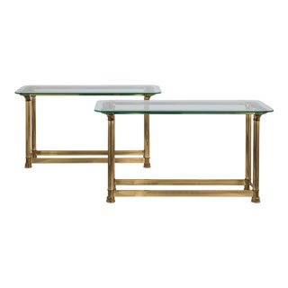 A Rare Pair of Heavy Brass Console Tables by Mastercraft 1970s
