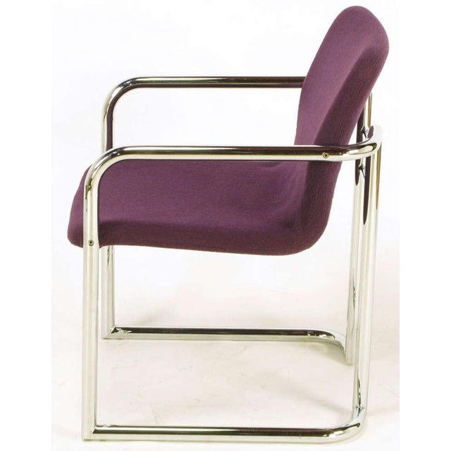 Pair Chrome & Violet Wool Sled Arm Chairs - Image 5 of 9