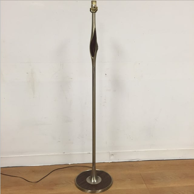 Image of Mid-Century Aluminum & Faux Wood Floor Lamp