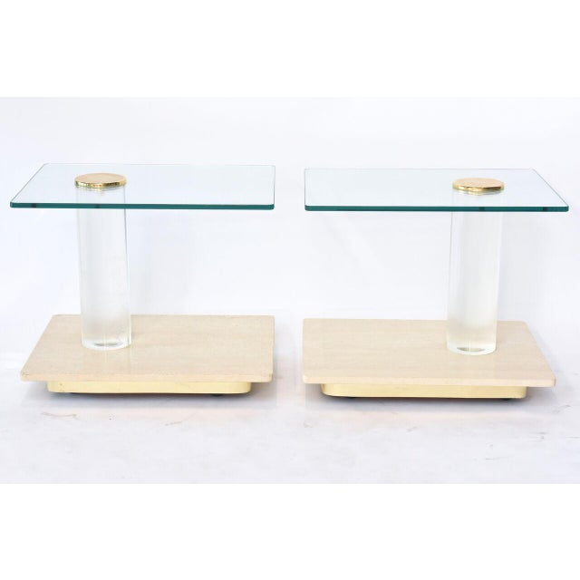 Pair of American Modern Travertine Marble, Lucite and Glass Tables Lion in Frost - Image 4 of 7