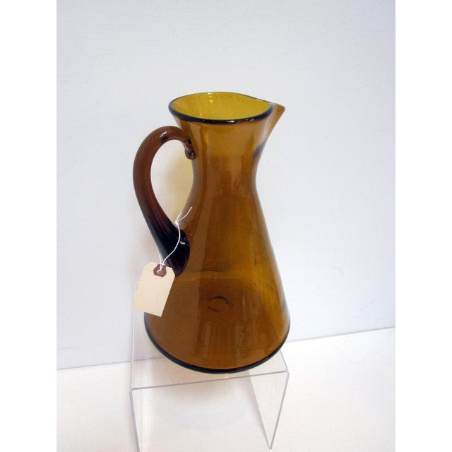 Modernist Amber Blenko Glass Vase Pitcher - Image 2 of 5