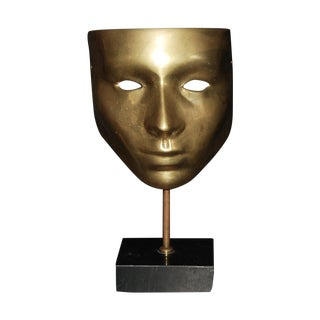Brass Mask With Marble Base