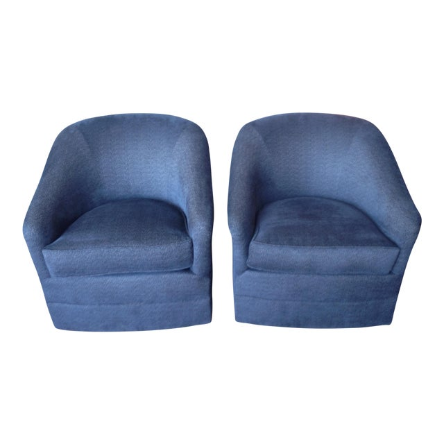 Navy Club Chairs - A Pair - Image 1 of 3