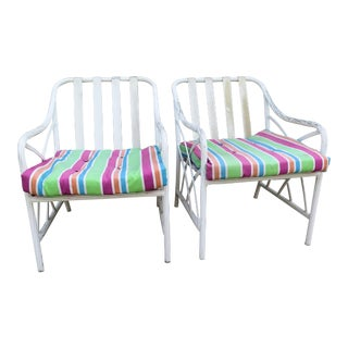 1960's Basket Weave Aluminum Chairs - a Pair
