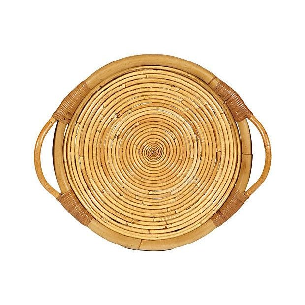 Vintage 1950s Rattan Serving Tray - Image 4 of 4