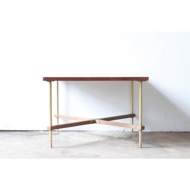 Image of Brass & Walnut Cross-Brace Side Table