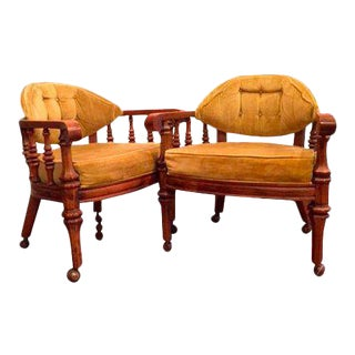 Vintage Tufted Chairs on Casters - a Pair