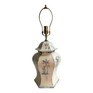Vintage Blue & White Tole Temple Jar Lamp