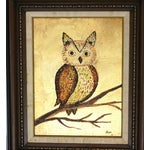 Image of 1960s Framed Golden Owl Painting