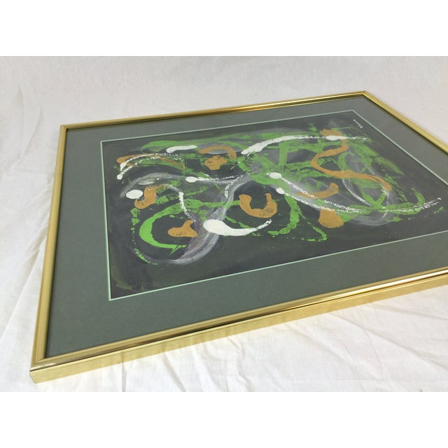 Lisa Rhana Untitled Abstract Green Oil on Paper - Image 4 of 6