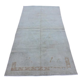 Mid 20th C. Vintage Antique Tribal Oushak Neutral Soft Hand Knotted Turkish Rug - 4'3 X 8'1