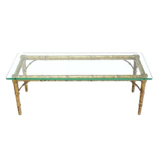 Drexel Lacquered Wood Faux Bamboo & Glass-Top Rectangular Coffee Table