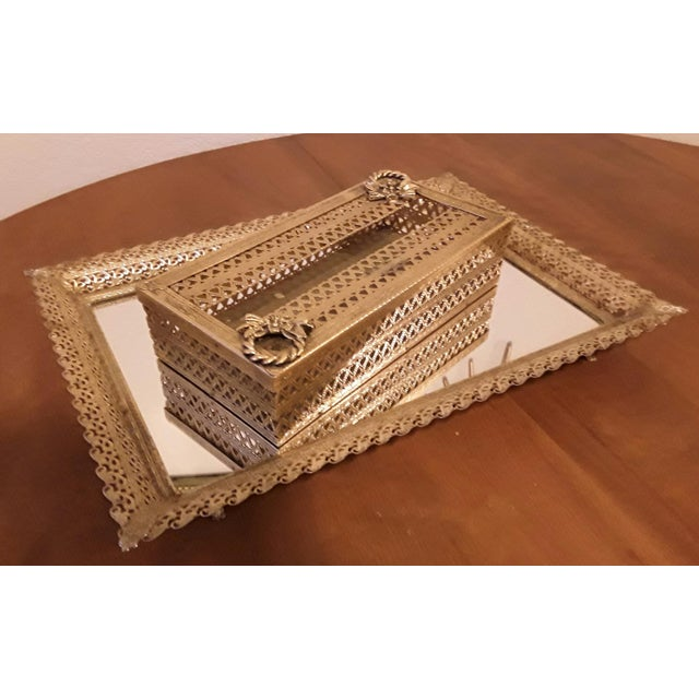 Hollywood Regency Gold Filigree Vanity Tray Tissue Box Chairish