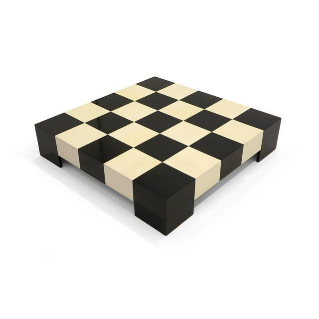 Large Square Black and White Checkerboard Coffee Table by Milo Baughman - Image 2 of 9