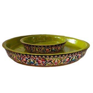 Hand-painted Floral Shallow Bowl Set