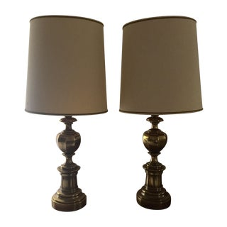 Gold Brass Stiffel Lamps - Pair