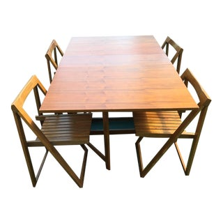 Mid-Century Teak Drop Leaf Table & 4 Chairs