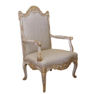 A Baronial French Regence Style Ivory Painted Open Armchair