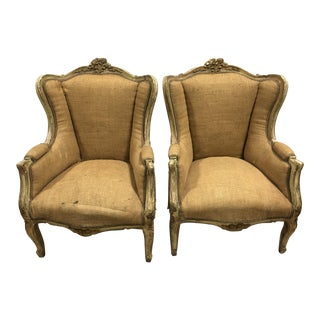 C.20 Louis XVI French Gold Leaf Bergeres - a Pair
