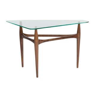 Preston Walnut Tripod Glass Top Side Table