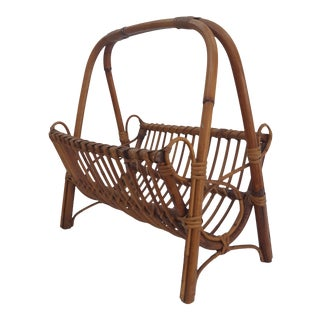 Italian Original Franco Albini Rattan And Bamboo Magazine Rack .
