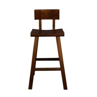 Quality Handmade Solid Wood Dark Brown Color Tall A Shape Bar Stool With Back