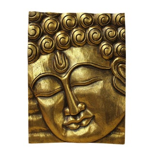 Buddha Wisdom Serene Peaceful Painted Gold Wood Wall Panel