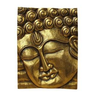 Buddha Wisdom Serene Peaceful Painted Gold Wood Wall Panel