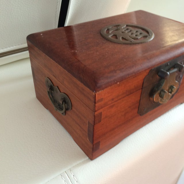 Vintage Chinese Rosewood & Brass Box - Image 4 of 6