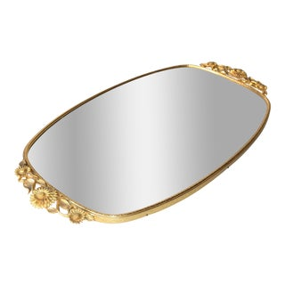 Art Deco Mirrored Brass Vanity Tray
