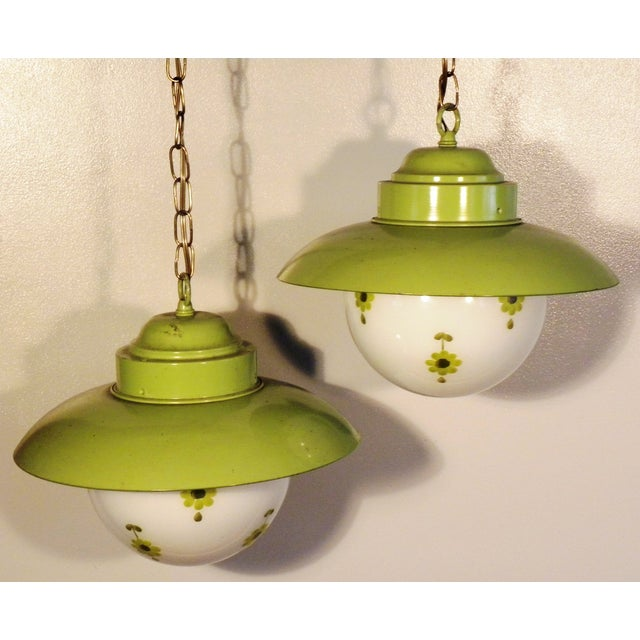 Chartreuse Flower Swag Lamps - A Pair - Image 3 of 7