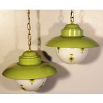 Image of Chartreuse Flower Swag Lamps - A Pair
