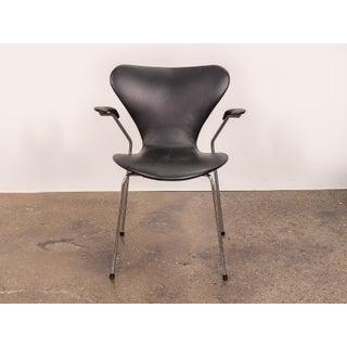 Arne Jacobsen Series 7 Black Leather Armchair