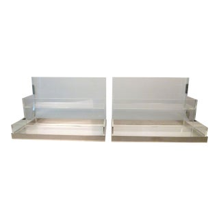 Lucite and Chrome Display Stands - A Pair