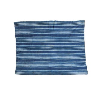 African Indigo Blue Striped Throw