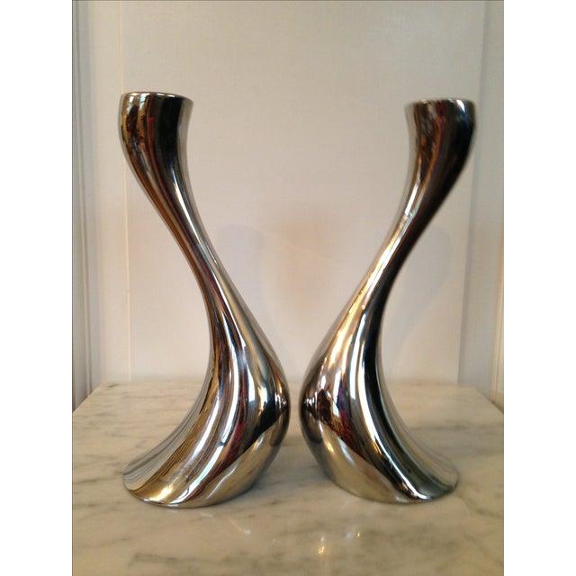 georg jensen steel cobra candle holders a pair chairish. Black Bedroom Furniture Sets. Home Design Ideas