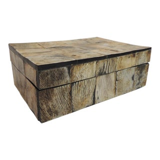 Faux Horn Lidded Rectangular Wood Box