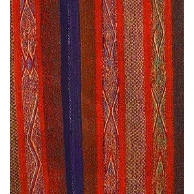 Image of Red Striped Peruvian Heirloom Rug - 5'1'' X 5'9''