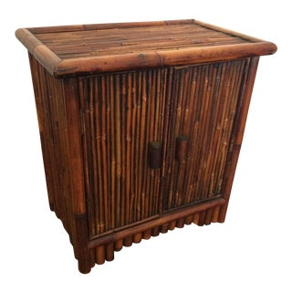 Vintage Oriental Pencil Reed Bamboo Cabinet