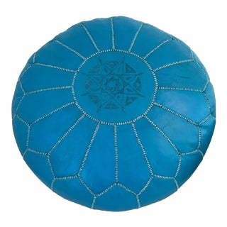 Moroccan Turquoise Blue Leather Pouf Ottoman