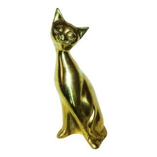 Lg Mid-Century Brass Siamese Cat
