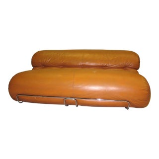 Important Italian Design Sculptural Leather Settee