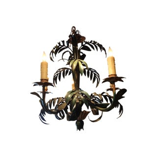 Hollywood Regency Italian Tole Palm Chandelier